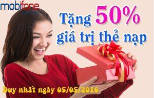 Khuyến mãi 50% giá trị thẻ nạp Mobifone