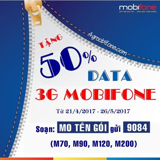 Khuyến mãi 50% Data 3G Mobifone từ 21/4 - 26/5 cho thuê bao thuộc danh sách