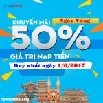 Mobifone khuyến mãi ngày 1/6/2017 tặng 50% giá trị thẻ nạp