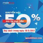 Mobifone khuyến mãi ngày 19/5 tặng 50% giá trị thẻ nạp