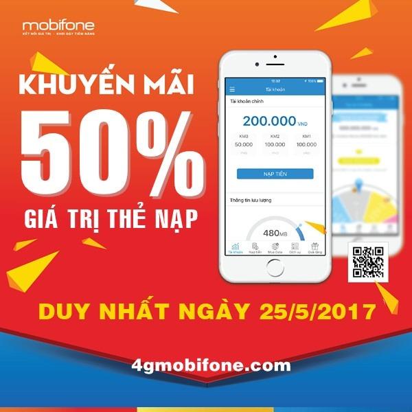 Mobifone khuyến mãi ngày 25/5 tặng 50% nạp tiền trực tuyến