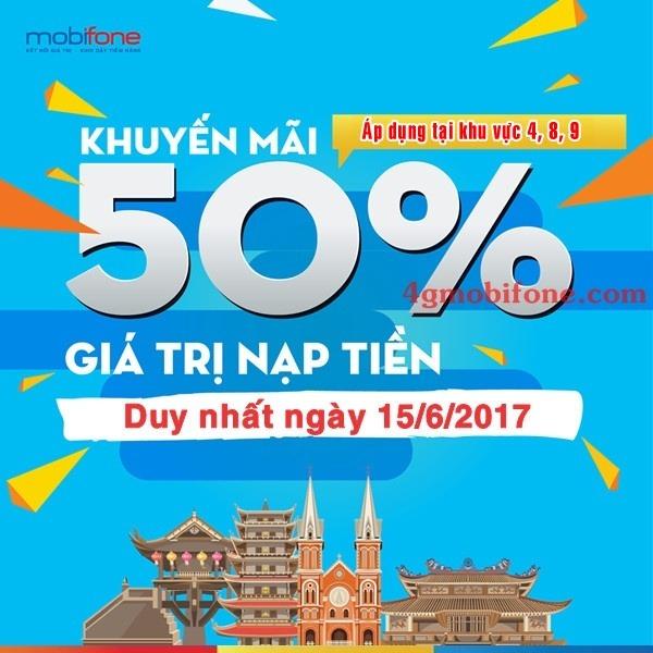 Mobifone khuyến mãi ngày 15/6/2017 tặng 50% giá trị thẻ nạp