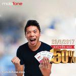 Mobifone khuyến mãi ngày 23/6/2017 ưu đãi 50% giá trị thẻ nạp