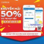 Mobifone khuyến mãi ngày 23/6 qua mobifone next tặng 50% giá trị thẻ nạp