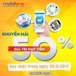 Mobifone khuyến mãi ngày 29/6 tặng 50% thẻ nạp