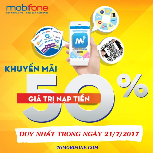 Mobifone khuyến mãi ngày 21/7/2017 tặng 50% thẻ nạp