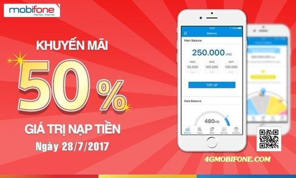 Mobifone khuyến mãi ngày 28/7/2017 tặng 50% thẻ nạp