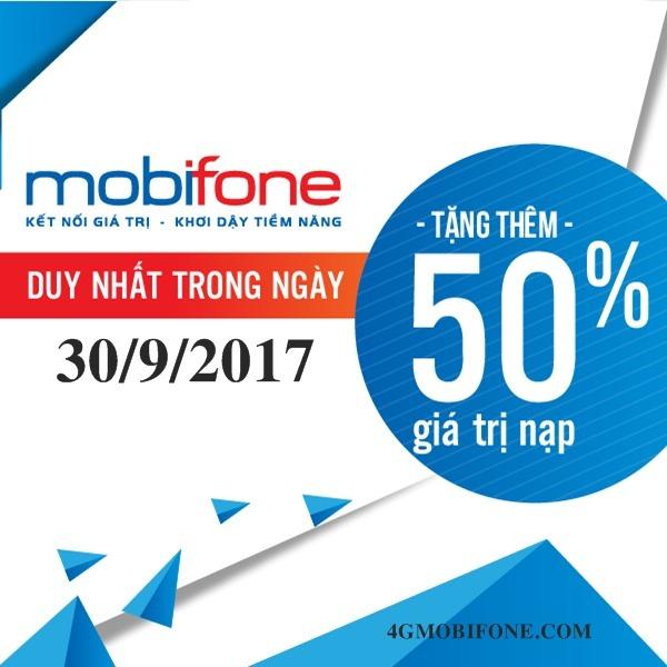 Chương trình Mobifone khuyến mãi ngày 30/9/2017