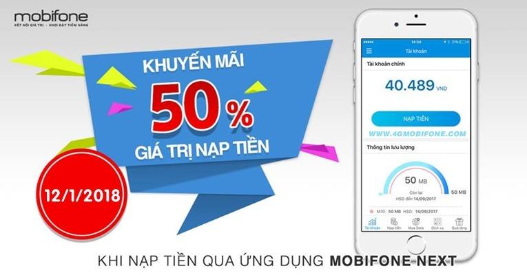 Chương trình Mobifone khuyến mãi 12/1 nạp tiền qua Mobifone NEXT