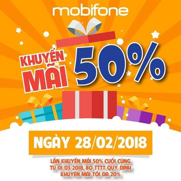 Chương trình Mobifone khuyến mãi 28/2/2018