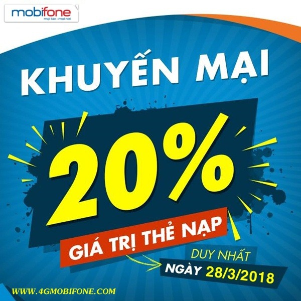 Chương trình Mobifone khuyến mãi ngày 28/3/2018