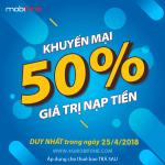 Thông tin Mobifone khuyến mãi 25/4/2018