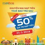 Chương trình Mobifone khuyến mãi trả sau ngày 25/5/2018