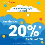 Mobifone khuyến mãi ngày 1/8/2018 tặng 20% thẻ nạp Ngày Vàng