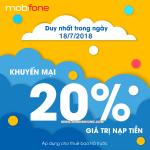 Chương trình Mobifone khuyến mãi 18/7 tặng 20% thẻ nạp toàn quốc