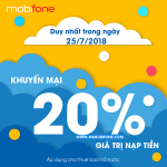 Khuyến mãi Mobifone ngày 25/7/2018 tặng 20% giá trị thẻ nạp