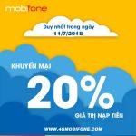 Mobifone khuyến mãi ngày 11/7/2018 tặng 20% giá trị thẻ nạp toàn quốc
