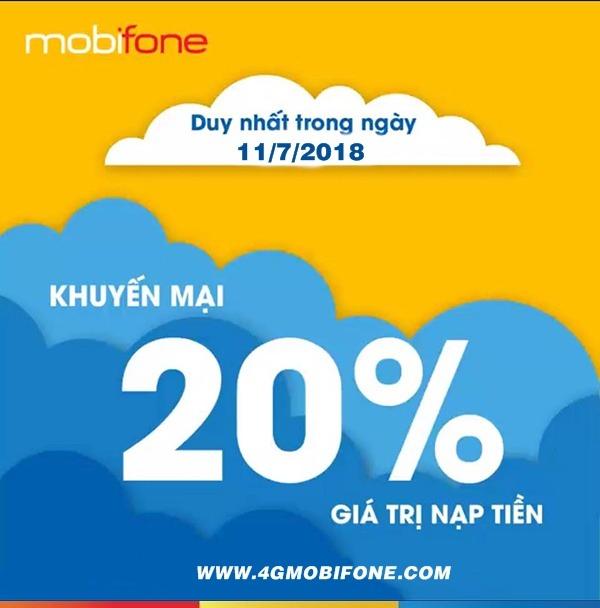 Chương trình Mobifone khuyến mãi ngày 11/7/2018