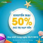 Chương trình Mobifone khuyến mãi trả sau ngày 25/7 tặng 50% thẻ nạp
