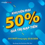 Mobifone khuyến mãi nạp tiền trả sau ngày 25/8 tặng 50% giá trị thẻ nạp