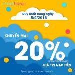 Mobifone khuyến mãi tặng 20% thẻ nạp Ngày Vàng 5/9/2018
