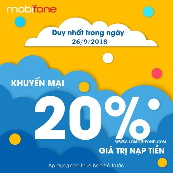 Chương trình Mobifone khuyến mãi cục bộ ngày 26/9/2018