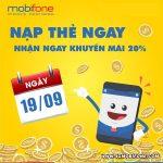 Mobifone khuyến mãi ngày 19/9/2018 tặng 20% thẻ nạp toàn quốc