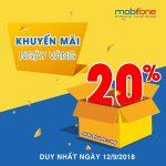 Khuyến mãi Mobifone ngày 12/9 tặng 20% thẻ nạp Ngày Vàng