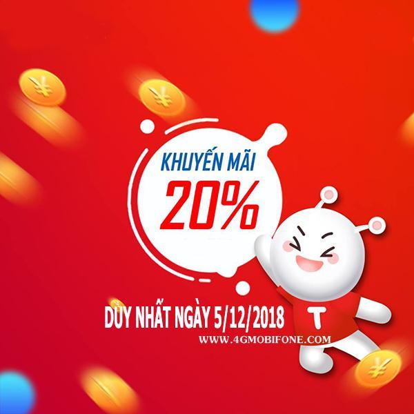Mobifone khuyến mãi ngày vàng 5/12/2018