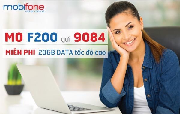 Đăng ký gói F200 Mobifone nhận 20GB Data khủng