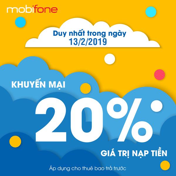 Mobifone khuyến mãi ngày 13/2/2019 tặng 20% thẻ nạp