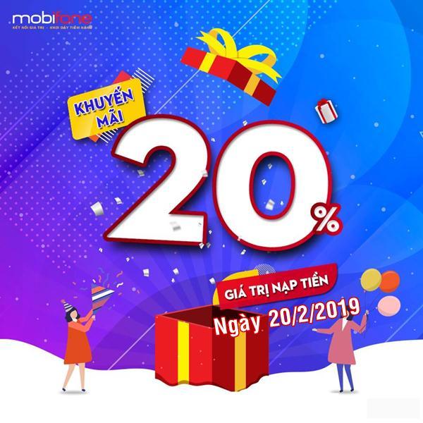 Mobifone khuyến mãi ngày 20/2/2019 tặng 20% giá trị thẻ nạp