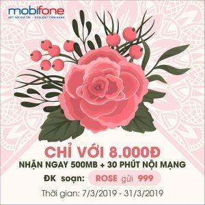 Đăng ký gói cước rose Mobifone nhạn 500mb, 30 phút gọi miễn phí