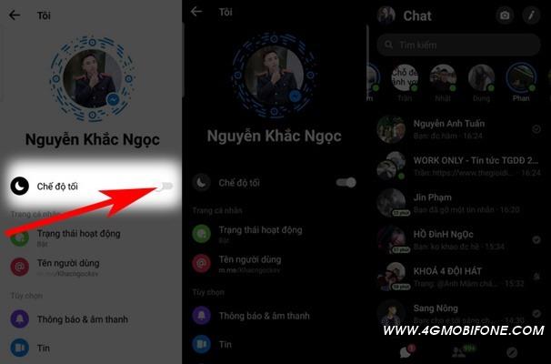 kích hoạt chế độ nền tối trên Facebook Messenger