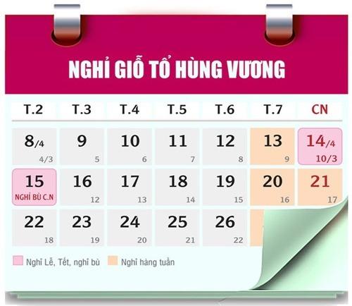Lịch nghỉ giỗ tổ Hùng Vương, 30/4, 1/5