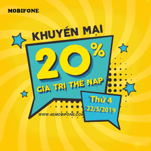 Mobifone khuyến mãi 22/5/2019 tặng 20% thẻ nạp Ngày Vàng toàn quốc