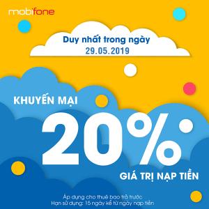 Mobifone khuyến mãi ngày 29/5/2019 tặng 20% thẻ nạp