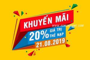 Mobifone khuyến mãi 21/8/2019 Ngày Vàng ưu đãi 20% thẻ nạp toàn quốc