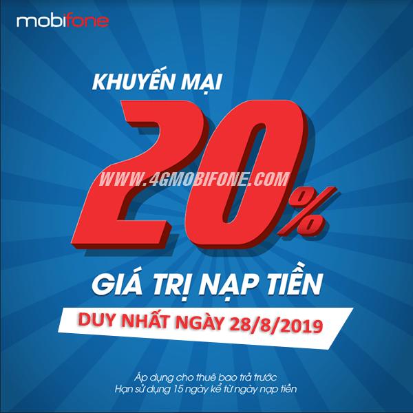 Mobifone khuyến mãi ngày 28/8/2019 tặng 20% thẻ nạp
