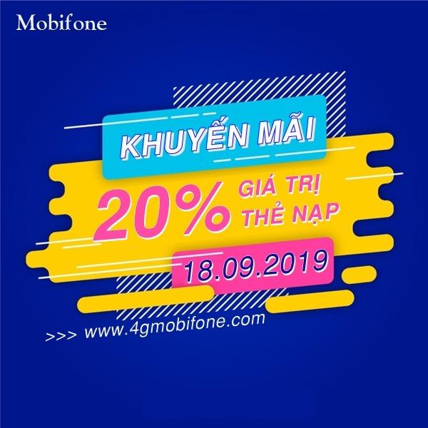 Mobifone khuyến mãi ngày 18/9/2019 tặng 20% thẻ nạp