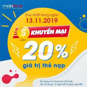 Khuyến mãi Mobifone 13/11/2019 Ngày Vàng tặng 20% thẻ nạp toàn quốc