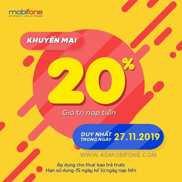 Mobifone khuyến mãi ngày 27/11/2019 tặng 20% giá trị thẻ nạp