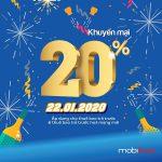 Mobifone khuyến mãi ngày 22/1/2020 ưu đãi 20% thẻ nạp