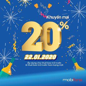 Mobifone khuyến mãi ngày 22/1/2020 ưu đãi 20% thẻ nạp toàn quốc