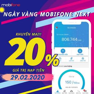 Mobifone khuyến mãi ngày 29/2/2020 tặng 20% thẻ nạp trực tuyến